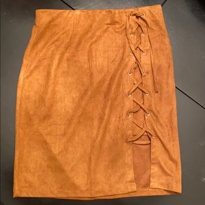LF Lace Up Suede Skirt NWT